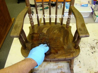 Heywood-Wakefield Child Rocker During Finish Reparation: Encaustic Treatment