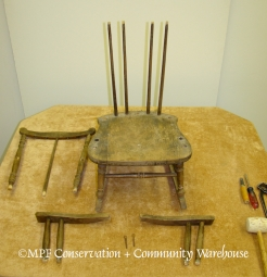 Heywood-Wakefield Child Rocker Taken Apart for Repair
