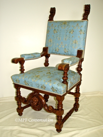 German Gothic Revival Fauteuil ca. 1860 After Treatment.