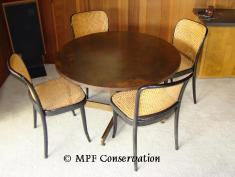 HARRY LUNSTEAD TABLE AND THONET BENTWOOD CHAIRS