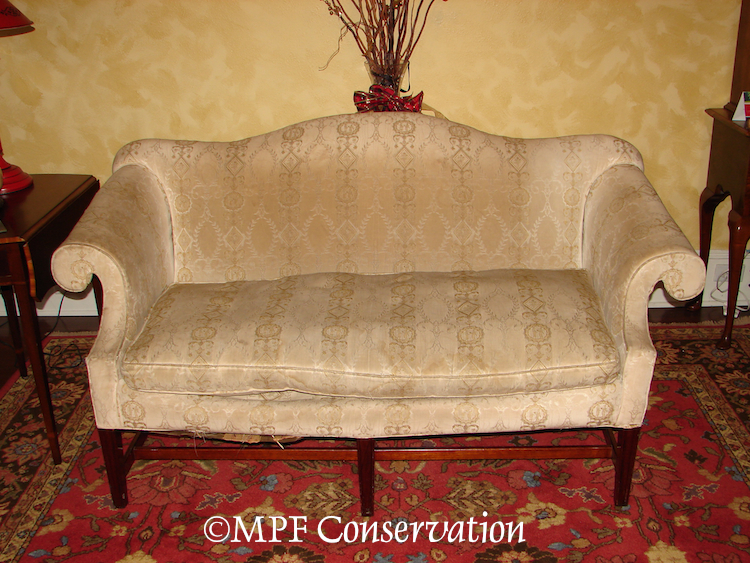 Process: Chippendale Camelback Settee Upholstery  (2/5)