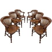 Set Six Elegant English Mahogany Slat Back Windsor Style Armchairs c1890 $6,950