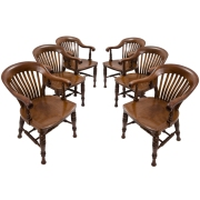 Set Six Elegant English Mahogany Slat Back Windsor Style Armchairs c1890 $6,950