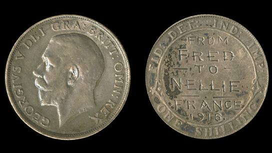 Silver George V shilling re-engraved as a love token, 1916 (J.3283)