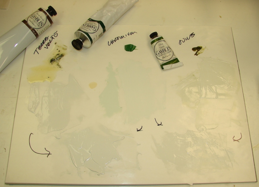 Mixing greens, though my first choice was in fact the best.  It has to be tested and left to dry on the frame.