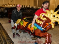 Here the first horse, a lovely Peekaboo, is carried off by Joe and Sean.
