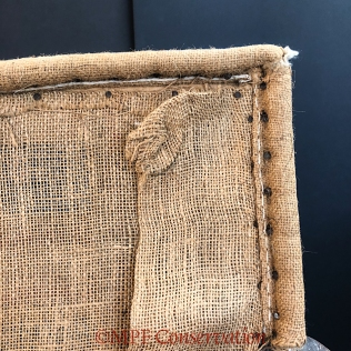 Detail of the original burlap corner.