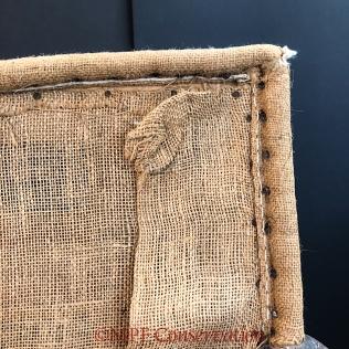 Detail of the original burlap corner.
